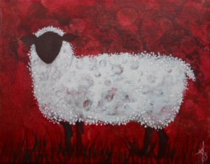 Sheepish 8x10 acrylic on canvas